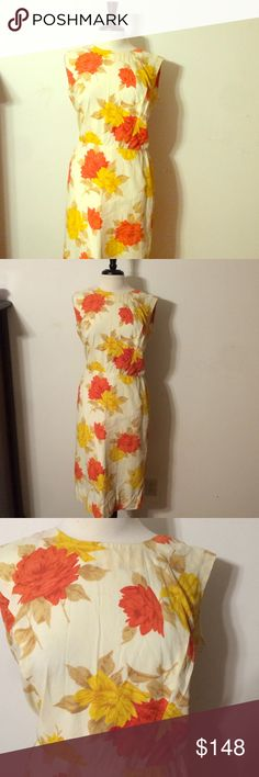 Stunning Vintage Floral Dress! Breathtaking! Vintage and handmade. Fully lined. Zips up the back. Cream colored dress with red and gold floral pattern. Fits like a large/XL! Vintage Dresses Midi