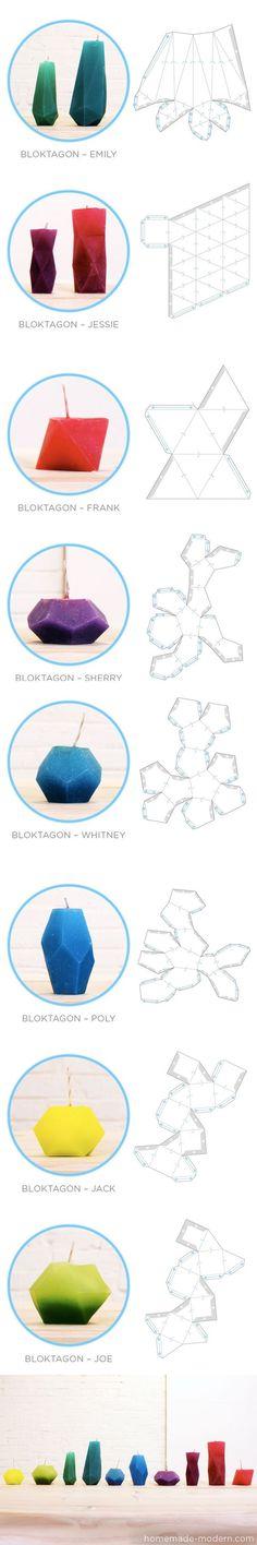 Bloktagons, unos originales moldes para crear velas y floreros / via homemade-modern: