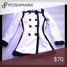 NEW!!! INC International pea coat INC International black and ivory pea coat ... fully lined ... beautiful!!!! INC International Concepts Jackets & Coats Pea Coats