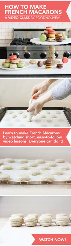 How to Make French Macarons: A brand new Skillshare video class by FoodNouveau.com. Learn to make French Macarons by watching short, easy-to-follow video lessons. Everyone can do it!