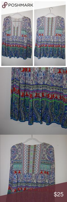 Boston Proper Long Sleeve Aztec Print Blouse Excellent Condition. Measurements included in photos. Boston Proper Tops Tees - Long Sleeve