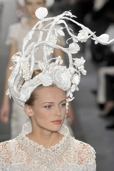 Sculptural Hat - wild flowers, paper sculpture headpiece; paper couture; wearable art // Chanel