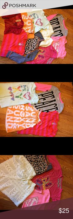 """Girls 10/12 shirt bundle Justice """"peace"""" long sleeve, old navy pink striped bow tie t-shirt, extremely me """"dream"""" tshirt, Japna kids gray w/ orange flowers, pink """"super girl"""" tshirt all 10/12. Light blue Roxy tshirt small, Roxy orange tank top says medium but it runs small, white Route 66 shawl medium, dark pink lace cardigan small. All in good condition, minor wear and fading on some. Shirts & Tops"""