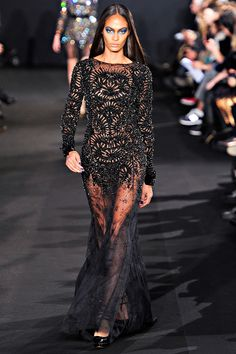A very sexy sheer gown with jet black beads by Prabal Gurung.     Fall RTW 2012