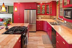 Farmhouse kitchen cabinets with barn red accents red kitchen ideas red kitchen cabinets home brilliant image . farmhouse kitchen cabinets with barn red Types Of Kitchen Cabinets, Red Cabinets, Farmhouse Kitchen Cabinets, Kitchen Dinning, Kitchen Redo, Kitchen Remodel, Kitchen Ideas, Kitchen Island, Glass Cabinets