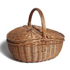 Oval Picnic Basket Willow Direct Ltd Colour: Antique Hamper Basket, Rattan Basket, Wicker, Wine Picnic Basket, Basket Willow, Wedding Gift Baskets, Picnic Backpack, Picnic Cooler, Artisanal
