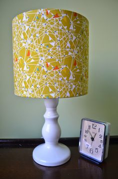 Lampshade Mustard Drum Cotton Fabric Drum Lamp shade by ShadowbrightLamps on Etsy