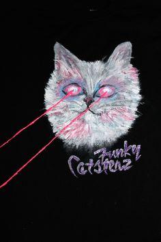 Laser Cat Hand Painted Black - T-Shirt Medium $24.00