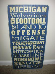 Michigan Football Subway Art Board by lisamingersoll on Etsy, $49.00