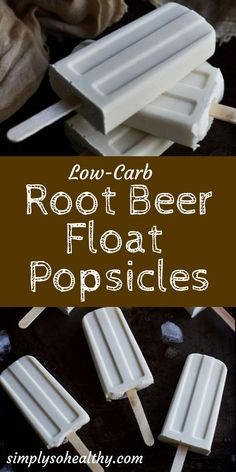 These Low-Carb Root Beer Float Popsicles are like having a frozen root beer float on a stick! They are a creamy combination of vanilla ice cream and root beer flavors and make a perfect low-carb treat for a hot late summer day!