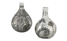 Etched Mercury Glass Demijohns   Jayson Home