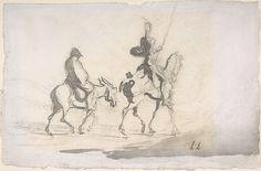 """""""Don Quijote y Sancho Panza"""" de Honoré Daumier. Del siglo XIX. Museo Metropolitano de Arte de Nueva York."""