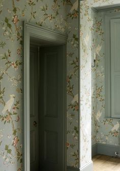 I like the corner molding (in particular)  and trim work painted in the same hue as the paper.