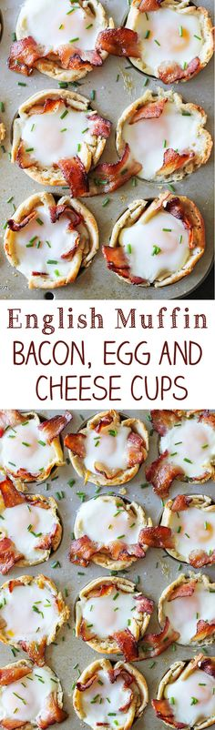 These breakfast cups made with Thomas' Sourdough English Muffins, cheddar cheese, smoky bacon, and egg bake up into some deliciously delightful bites.
