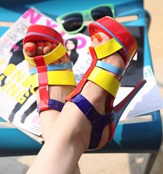 Colorblock open toe sandals are each to match with any outfit. Who does 't like heels?