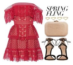 """Warmer Days Ahead: Spring Dresses"" by vany-alvarado ❤ liked on Polyvore featuring self-portrait, Gianvito Rossi, Judith Leiber, Ana Khouri and springdresses"