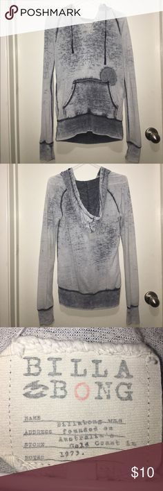 Billabong light grey hoodie Light sheerish drawstring hoodie with different shades of grey. It fits a small but big enough to fit a medium as well. Nothing wrong with it, in good condition! Open to offers :) Billabong Tops Sweatshirts & Hoodies