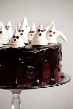 Chocolate Fudge Cake with GhostMeringues