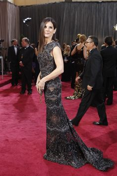Sandra Bullock in Elie Saab and Harry Winston.