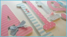 Wooden Letters -BABY PINK and BLUE Theme - Nursery Decor-avail in any size or font in this shop