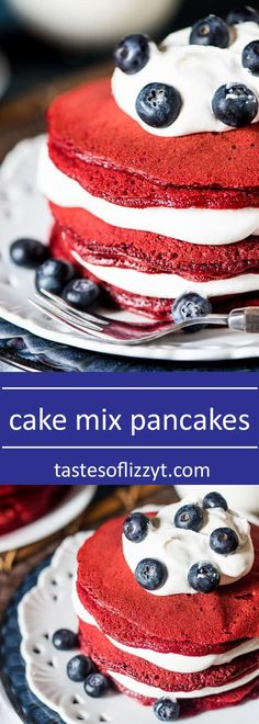 Cake for breakfast?! You bet! These quick, 5-ingredient cake mix pancakes are a festive and easy way to make pancakes. Choose any flavor cake mix you'd like! via @tastesoflizzyt