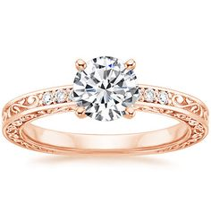 14K Rose Gold Delicate Antique Scroll Diamond Ring from Brilliant Earth/matches my wedding band perfectly.