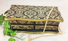 Black Damask Jewelry Box, Men's Jewelry Organizer, Gold Jewelry Chest, Painted Keepsake Storage, Black Gold Desk Accessory, Wood Jewelry Box by Reimaginations on Etsy https://www.etsy.com/listing/506250095/black-damask-jewelry-box-mens-jewelry