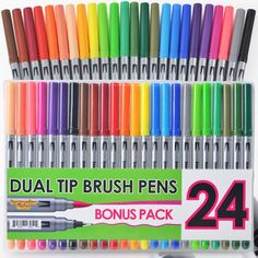 Amazon.com: Dual Tip Brush Pens with Fineliner Tip (24 PACK, No Duplicates!) Paint Brush Markers Ink Tip and 0.4mm Fine line tip on the other side. Perfect for Artists, Watercolor, Sketching, Coloring, and More!: Arts, Crafts & Sewing