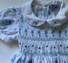 Carriage Boutique Blue White Floral Smocked Short Sleeve Classic Dress 4T Easter #CarriageBoutiques #DressyEverydayHoliday
