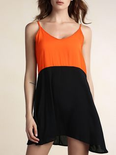 Chic Spaghetti Strap Hit Color Spliced Backless Women's Dress