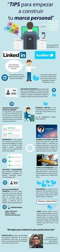 Consejos para construir tu Marca Personal #infografia en español. #CommunityManager