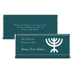 These Bar Mitzvah candy wrappers are a simple and fun gift for guests of your celebration. A green print and menorah illustration make this a great design. Candy Wrappers, Chocolate Bars, Menorah, Green Print, Bar Mitzvah, Best Gifts, Personalized Items, Fun, Chocolate Candy Bars