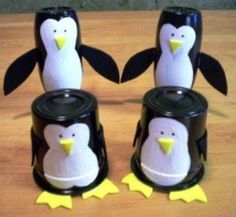 Penguins made from yogurt cups and mini smoothie bottles - K-cups?