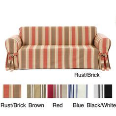 @Overstock - Add contemporary style to your home with this striped sofa slipcover. Made from 100 percent cotton, this slipcover features a classic stripe pattern with a straight skirt, casual fit, and bowties. It is available in several colors to match your decor.http://www.overstock.com/Home-Garden/Classic-Stripe-Sofa-Slipcover/655910/product.html?CID=214117 $65.99