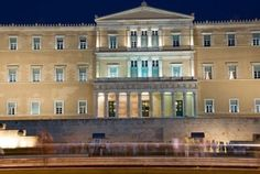 Syntagma square in Athens with Greek Parliament
