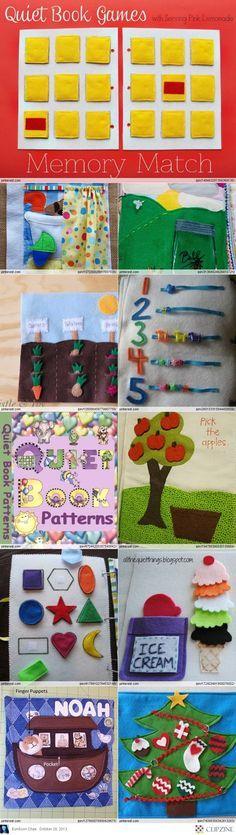 Distintas ideas para un libro de juegos, muy didáctico!! Quiet Book Ideas
