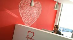 Interaction Case Study | British Heart Foundation seeked to have an office fit out in their London head office complete will bright and branded wall graphics and manifestation.