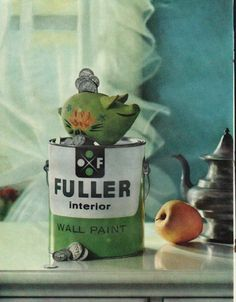 "1961 FULLER INTERIOR WALL PAINT vintage magazine advertisement ""piggy bank fuller"" ~ Fuller quality paint makes your piggy bank fuller - Extra Quality of Fuller Interior Wall Paint saves you money two ways ... Save extra dollars with Fuller piggy ..."