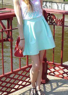 Kup mój przedmiot na #vintedpl http://www.vinted.pl/damska-odziez/spodnice/8678025-letnia-wiosenna-mietowa-rozkloszowana-spodniczka