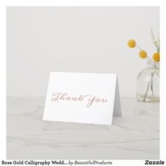 Shop Elegant Rose Gold Calligraphy Bridesmaid Thank You Card created by FreshAndYummy. Personalize it with photos & text or purchase as is! Photo Thank You Cards, Thank You Postcards, Thank You Note Cards, Custom Thank You Cards, Custom Greeting Cards, Calligraphy Flowers, Gold Calligraphy, Wedding Calligraphy, Bridesmaid Thank You Cards