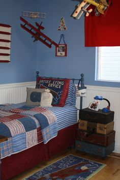 I love the luggage as a nightstand! Doing this for Kobens airplane room. Already have his hanging planes painted!
