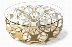 Reused CNC machine plywood was used to create this coffee table. Designed by Liam Hopkins & artist Richard Sweeney.