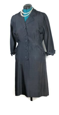 Vintage WWII ERA Navy Silk Dress   #vintagedaydress #silkdaydress #1940sdress #vintagedress