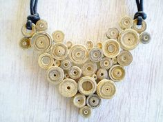 Vintage Newspaper Necklace Paper Rolls Triangular Pendant Recycled Jewelry Eco-Friendly Ready to Ship / Τριγωνικό Μενταγιόν