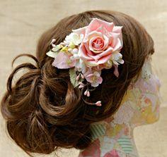 Pink rose bridal hair clip pink floral bridal by HollyHoopsArt, $70.00