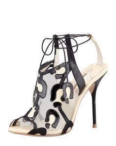 Sophia Webster Blake Leopard Mesh Tie Sandal - Bergdorf Goodman