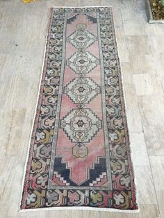 Runner Rug 3.2x9.3ft Vintage Oushak Rug Handmade Rug Muted Color Rug  Kitchen Rug Oushak Runner Rug Turkish Rug Pink Rug