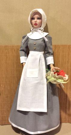 """16"""" Tonner Deja Vu, Gene - Thanksgiving - Soft Gray Pilgrim Dress by Leehs"""