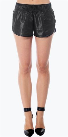Rails - Lamb Leather Track Shorts- Black