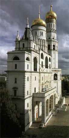 Archangel Cathedral and Ivan the Great Belltower in the Kremlin, Moscow, Russia